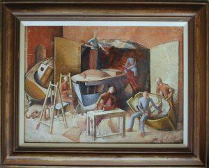 Donald Allen - Boatbuilders painting