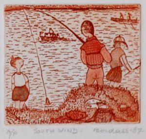 Dorothy Bordass Southwind etching