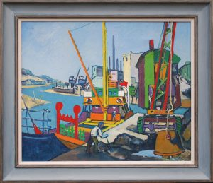 Rundle Wood Steam Trawlers painting framed
